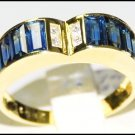18K Yellow Gold Diamond For Men Blue Sapphire Heart Ring [RQ0032]