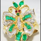 Jewelry Diamond 18K Yellow Gold Emerald Butterfly Ring [R0117]