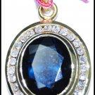 Blue Sapphire Diamond Solitaire Pendant 14K Yellow Gold [P_156]