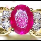 18K Yellow Gold Solitaire Jewelry Ring Diamond Ruby [RS0135]