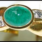 Emerald Solitaire Jewelry 18K Yellow Gold Diamond Ring [RS0161]