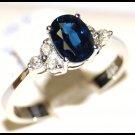 Unique 18K White Gold Solitaire Diamond Blue Sapphire Ring [RS0012]