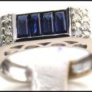 Blue Sapphire Diamond Gemstone Jewelry 18K White Gold Ring [R0004]