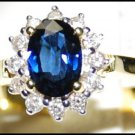 Unique 18K Yellow Gold Diamond Solitaire Blue Sapphire Ring [RS0001]