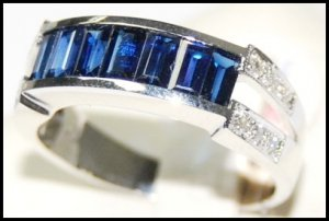 Wedding 18K White Gold Gemstone Diamond Blue Sapphire Ring [RQ0021]