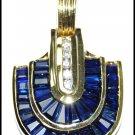 Blue Sapphire Diamond Pendant Unique 18K Yellow Gold [P0074]