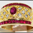 Eternity Ruby Ring and Diamond Unique 18K Yellow Gold [R0072]