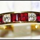 Diamond and Unique Ruby Band Ring Unique 18K Yellow Gold [RQ0003]