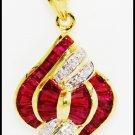 Natural Gemstone Diamond 18K Yellow Gold Ruby Pendant [P0089]