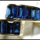 For Men Wedding Blue Sapphire Diamond Ring 18K Yellow Gold [RQ0001]