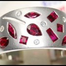18K White Gold Diamond and Multi Ruby Band Ring [RF0004]