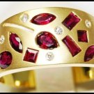 18K Yellow Gold Multi Ruby Red and Diamond Band Ring [RF0004]
