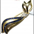 Genuine Diamond 18K Yellow Gold Blue Sapphire Brooch/Pin [I010_1]