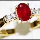 Natural Diamond Ruby Ring Solitaire 18K Yellow Gold [RS0025]