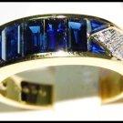 18K Yellow Gold Natural Diamond For Men Blue Sapphire Ring [RQ0042]