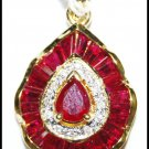 Unique 18K Yellow Gold Ruby Diamond Gemstone Pendant [P0131]