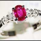 18K White Gold Oval Ruby Solitaire Ring and Diamond [RS0025]