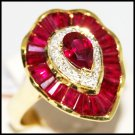 18K Yellow Gold Wedding Ruby and Diamond Cocktail Ring [R0065]