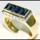 Blue Sapphire For Men Natural Diamond 18K Yellow Gold Ring [RQ0007]