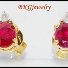 Natural Diamond Stud Gemstone Ruby Earrings 18K Yellow Gold [E0028]