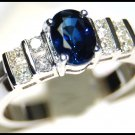 Wedding Diamond Solitaire Blue Sapphire Ring 18K White Gold [RS0075]