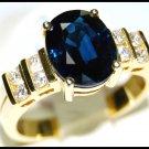 Blue Sapphire 18K Yellow Gold Diamond Unique Ring Solitaire [RS0075B]