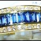 18K Yellow Gold Blue Sapphire Diamond For Men Wedding Ring [RQ0017]