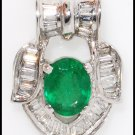 Diamond Natural Solitaire Pendant Emerald 18K White Gold [P0094]
