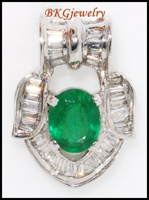 Diamond Natural Solitaire Pendant Emerald 18K White Gold [P0094]