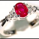 18K White Gold Diamond and Oval Ruby Solitaire Ring [RS0006]