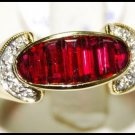 18K Yellow Gold For Men Ruby Gemstone Diamond Ring [RQ0018]