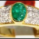 Wedding 18K Yellow Gold Diamond Emerald Solitaire Ring [R0109]