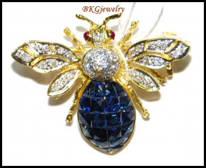 Natural Diamond 18K Yellow Gold Blue Sapphire Bee Brooch/Pin [I_019]