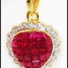 Unique Diamond Ruby Heart Pendant 18K Yellow Gold [P0069]