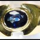 Gemstone 18K Yellow Gold Unique Solitaire Blue Sapphire Ring [RS0057]