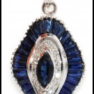 Natural Blue Sapphire Diamond Pendant 18K White Gold [P0067]