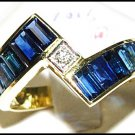Blue Sapphire For Men Genuine Diamond 18K Yellow Gold Ring [RQ0005]