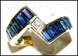 Blue Sapphire For Men Genuine Diamond 18K Yellow Gold Ring [RQ0005]