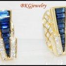 Natural Diamond Blue Sapphire Earrings 18K Yellow Gold [E0019]