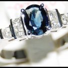 18K White Gold Natural Solitaire Diamond Blue Sapphire Ring [RS0083]
