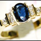 Diamond Oval Solitaire Blue Sapphire Ring 18K Yellow Gold [RS0083]