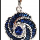 Natural Diamond Blue Sapphire Pendant 18K White Gold [P0066]