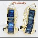 Diamond 18K Yellow Gold Genuine Blue Sapphire Earrings [E0014]