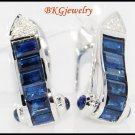 Diamond Blue Sapphire 18K White Gold Gemstone Earrings [E0013]