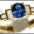 Diamond 18K Yellow Gold Unique Solitaire Blue Sapphire Ring [RS0084]