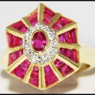 18K Yellow Gold Cocktail Ring Real Ruby and Diamond [R0067]