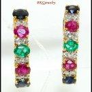 Genuine Multi Gemstone Diamond 18K Yellow Gold Earrings [E0074]