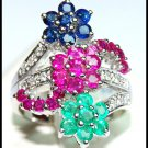 Jewelry 18K White Gold Diamond Multi Gemstone Flower Ring [RF0017]