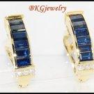 Jewelry Blue Sapphire 18K Yellow Gold Diamond Earrings [E0018]