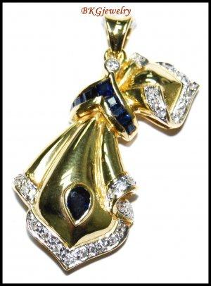 Genuine Diamond Blue Sapphire Brooch/Pendant 18K Yellow Gold [I_015]